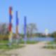 Die bunten Balken am Biesdorfer Baggersee